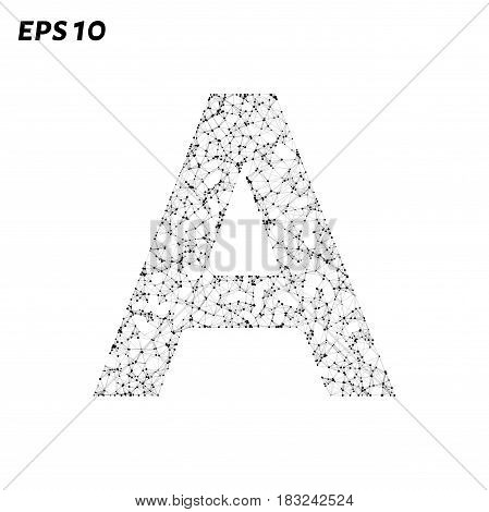 The Letter A Consists Of Points, Lines And Triangles. Vector Illustration.