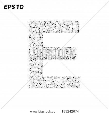 The Letter E Consists Of Points, Lines And Triangles. Vector Illustration.