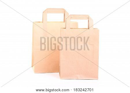 Shopping brown recycle gift bags isolated on white background