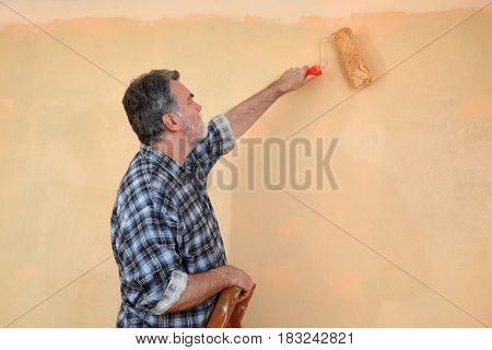 Worker Painting Wall In A Room