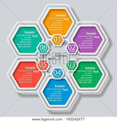 vector abstract 3d paper infographic elements.Hexagon infographics
