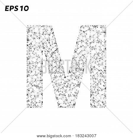 The Letter M Consists Of Points, Lines And Triangles. Vector Illustration.