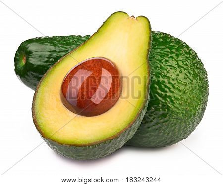 Group of two avocados with oily stone isolated on white, with clipping path