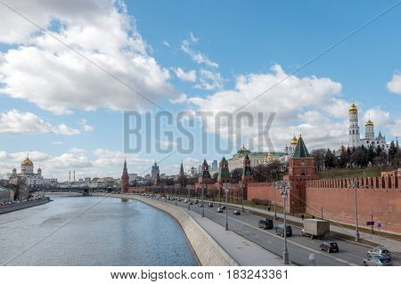 Moscow, Russia - 23 March 2017: Moscow Kremlin And Embankment Of Moskva River.