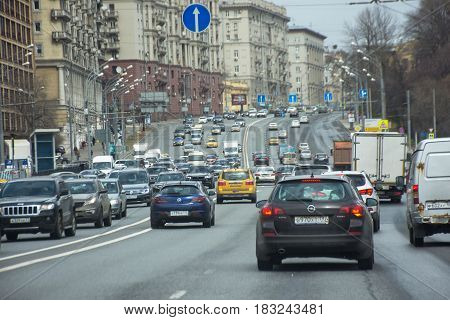 Moscow Russia - April 24 2017: Dat traffic on the road Moscow. Many cars on the road