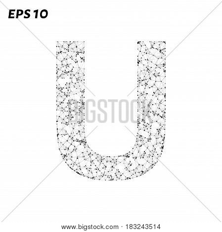 The Letter U Consists Of Points, Lines And Triangles. Vector Illustration.