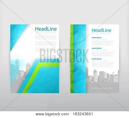 Vector abstract template design leaflet, flyer, poster, brochure, cover with turquoise and green multilayer elements and silhouettes of city buildings in the background