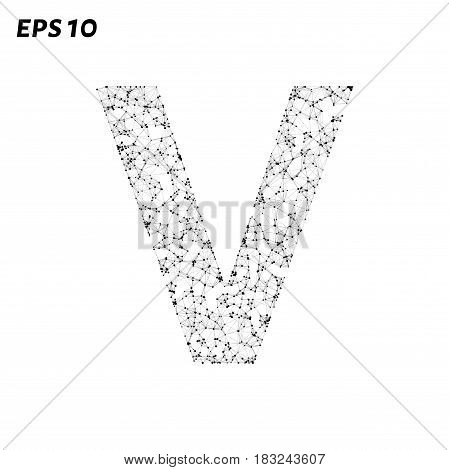 The Letter V Consists Of Points, Lines And Triangles. Vector Illustration.