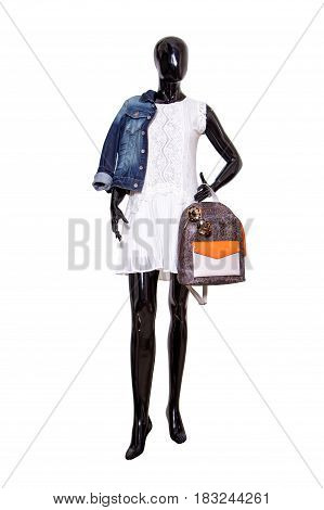 Female Mannequin Dressed In Casual Clothes. Isolated On White Background. No Brand Names Or Copyrigh
