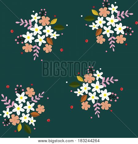 Seamless floral pattern hand drawn small field flowers white pink berries twigs on green blueish background
