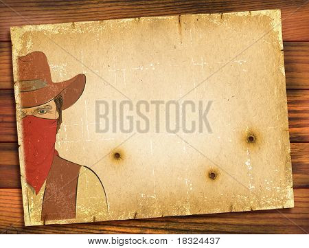 Old Paper Background With Image Of Bandit And Bullete Holes.western Poster