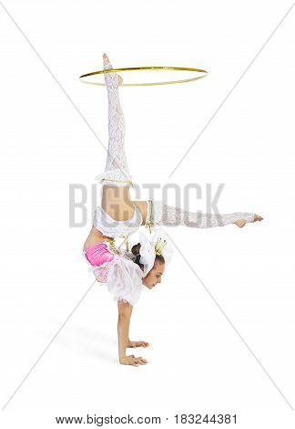 Gymnast Standing Twirling A Hula Hoop