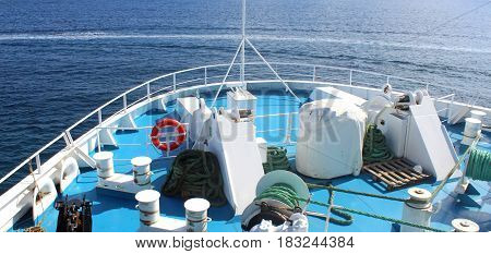marine accessories on the deck of a ferry on its way in the Mediterranean Sea