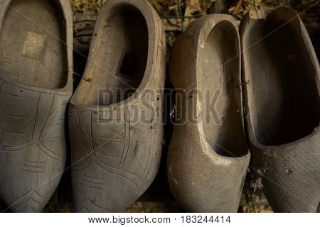 Traditional pairs of Dutch wooden clog shoes