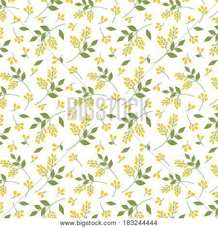 Seamless botanical pattern yellow seaberries green twigs leaves allover print on white background fabric tapestry wallpaper gift wrap design
