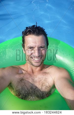 man in the swimming pool