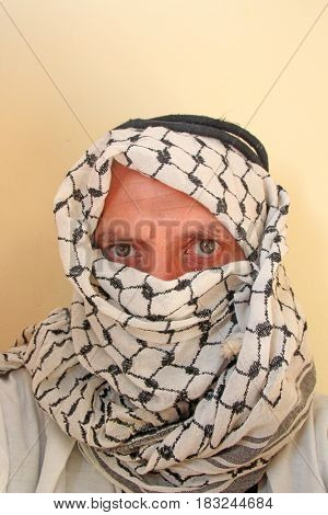 Portrait closeup of a arab man, studio shoot