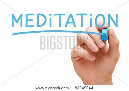 Hand writing Meditation with blue marker on transparent wipe board.