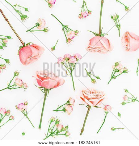 Floral pattern made of pink roses and buds on white background. Flat lay, top view. Roses background.