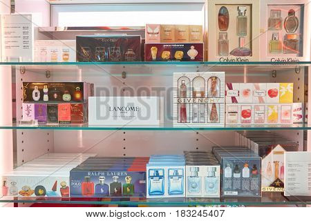 DUBAI, UAE - CIRCA JANUARY, 2017: perfume bottles display on at Dubai International Airport. The airport is home to the long-haul carrier Emirates.
