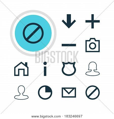Vector Illustration Of 12 Interface Icons. Editable Pack Of Snapshot, Info, Man Member And Other Elements.