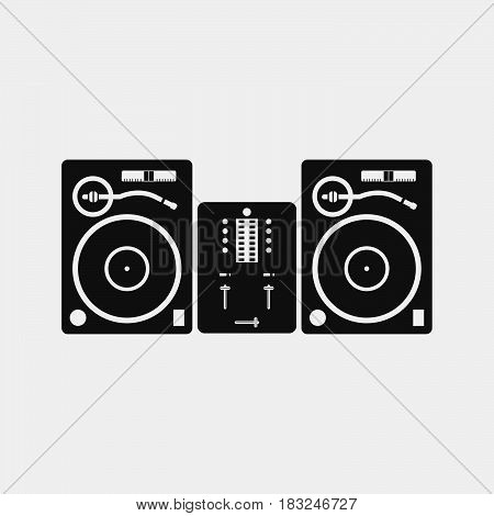 Dj setup icon isolated on white background .