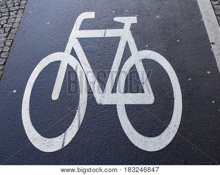 Traffic Sign: Bicycle Symbol On A Wet Asphalt Bikeway In Berlin Germany