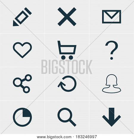 Vector Illustration Of 12 Interface Icons. Editable Pack Of Downward, Wrong, Seek And Other Elements.