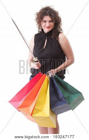 lovely woman with shopping bags and sword over white