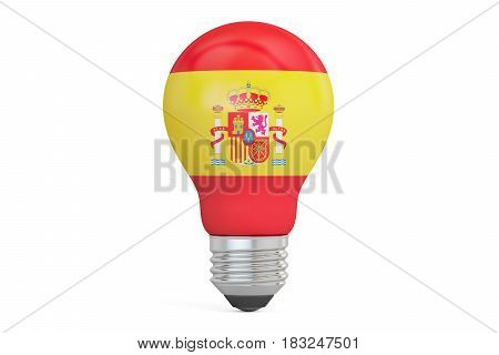 Light bulb with Spain flag 3D rendering isolated on white background