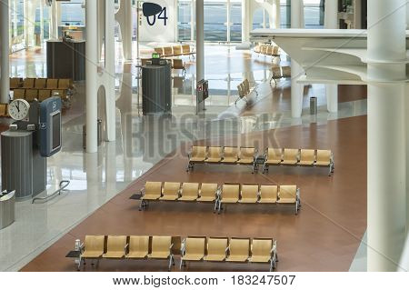 Madrid Spain: 24th July 2016: The Madrid-Barajas Airport is Spain's largest and busiest airport. View with empty seats.