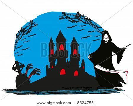 Grim reaper at night landscape illustration card