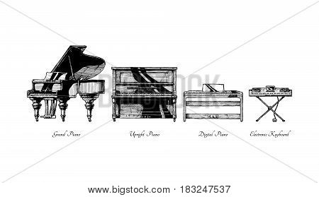 Vector hand drawn illustration of piano types. Grand Upright (vertical) digital pianos and electronic keyboard. Isolated on white background.