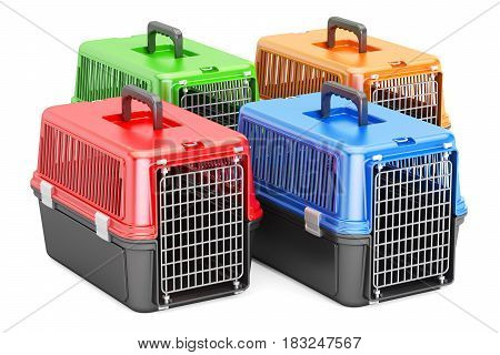 Pet travel plastic cages 3D rendering isolated on white background