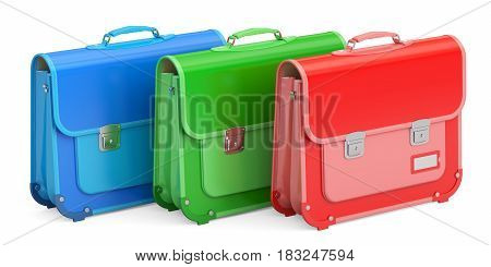 Set of schoolbags briefcases. 3D rendering isolated on white background