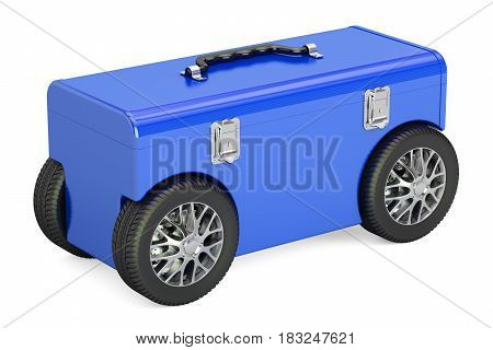 Blue toolbox on car wheels 3D rendering isolated on white background