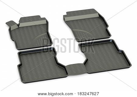 Car mats closeup 3D rendering isolated on white background