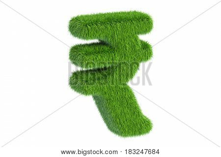 Grassy rupee symbol 3D rendering isolated on white background