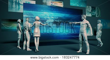 Business Technology Meeting with Presentation Chart Graph 3D Illustration Render