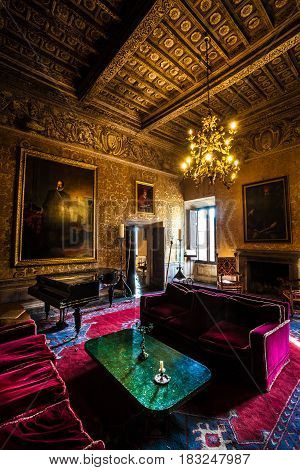 VIGNANELLO, ITALY. November 17, 2015: Room nineteenth century inside the Castello (castle) Ruspoli, 16th-century castle, in the town of Vignanello, Lazio, Italy.