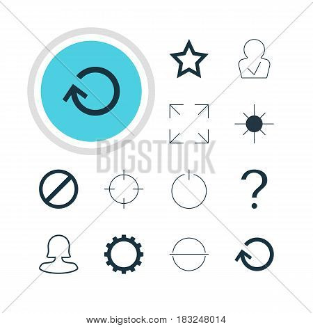 Vector Illustration Of 12 User Icons. Editable Pack Of Switch Off, Asterisk, Female User And Other Elements.