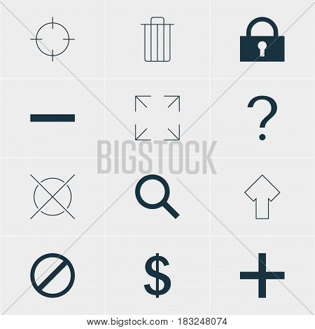 Vector Illustration Of 12 Interface Icons. Editable Pack Of Money Making, Upward, Plus And Other Elements.