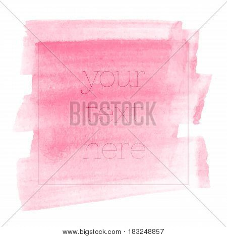 Colorful painted stroke. Vector hand drawn watercolor brush stain.