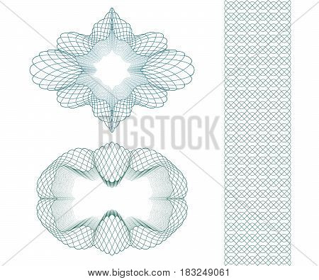 Set: Ellipse Guilloche Pattern Rosette and border for certificate or diploma, isolated. Vector illustration.