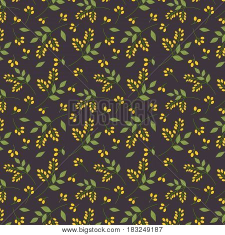 Seamless botanical pattern yellow seaberries green twigs leaves allover print on dark purple background fabric tapestry wallpaper gift wrap design