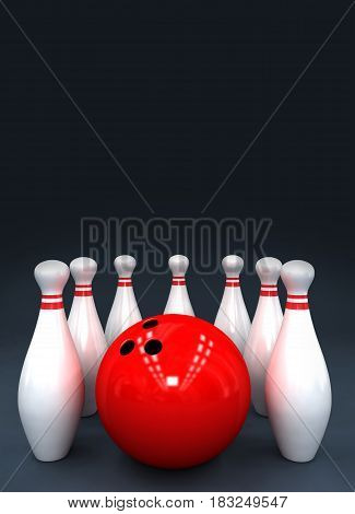 preparation for a poster bowling pins and ball 3D