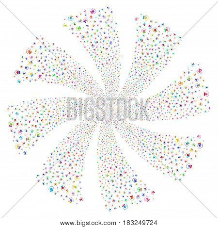 Alarm fireworks swirl rotation. Vector illustration style is flat bright multicolored iconic symbols on a white background. Object whirlpool done from random pictograms.