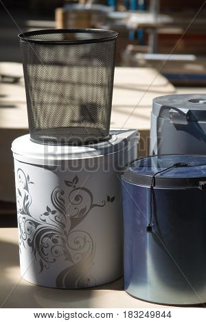 The trash can. Trash can for the kitchen or office. The trash embedded in the furniture. Furniture accessories.