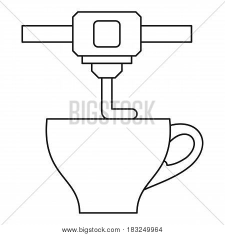 3D printer printing cup icon in outline style isolated on white background vector illustration