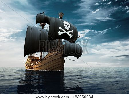 Pirate Ship On The High Seas. 3D Illustration.